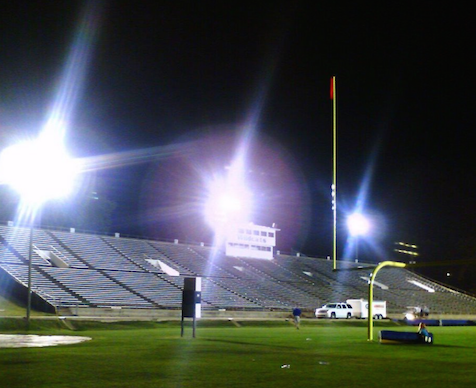 Bright nighttime stadium lights